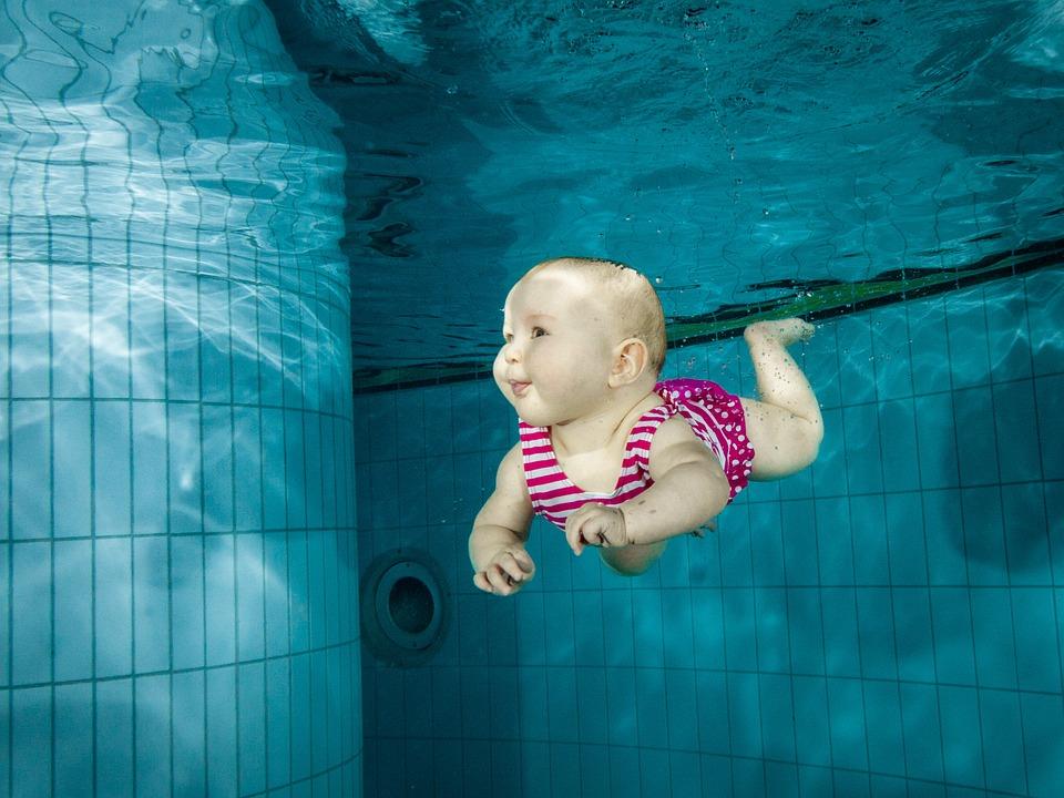 Baby Girl Swimming Family Underwater Water